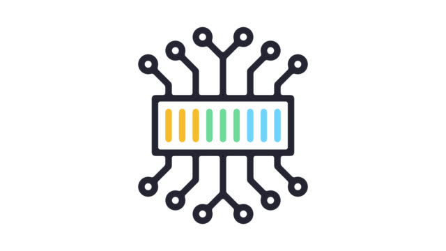 internet of things services line icon animation with alpha - line icon stock videos & royalty-free footage