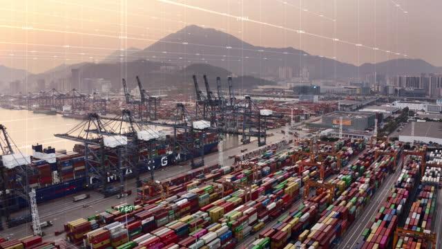 internet delle cose con porta - porto marittimo video stock e b–roll