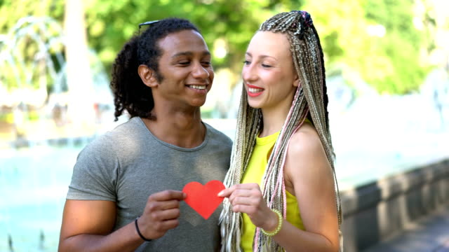 Interracial couple showing their love