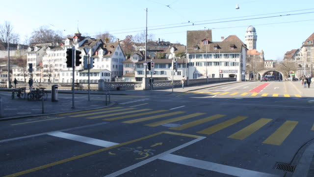 intersection central zurich - zebra crossing stock videos & royalty-free footage