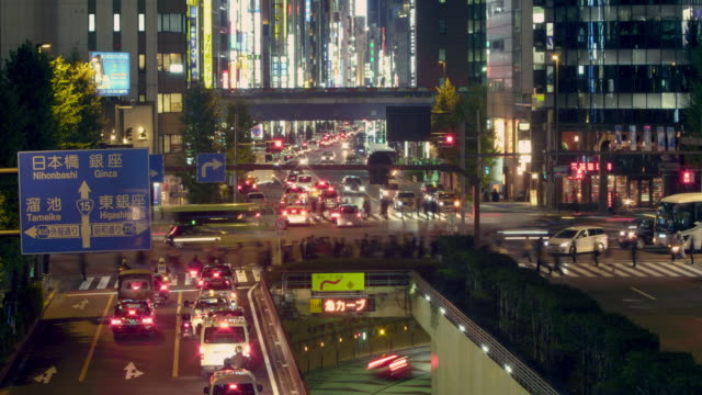 intersection in shinbashi, night. - 1 minute or greater stock videos & royalty-free footage