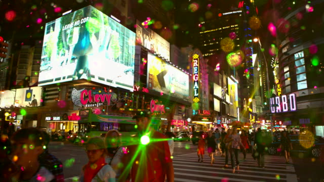 Intersection in Time Square New York City with colored snow glitter