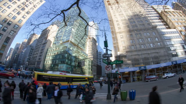 Intersection of 42nd Street and 5th Avenue in NYC time-lapse