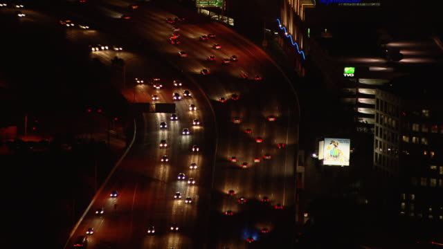 interstate 405 and the howard hughes center in los angeles at night. - howard hughes stock videos and b-roll footage