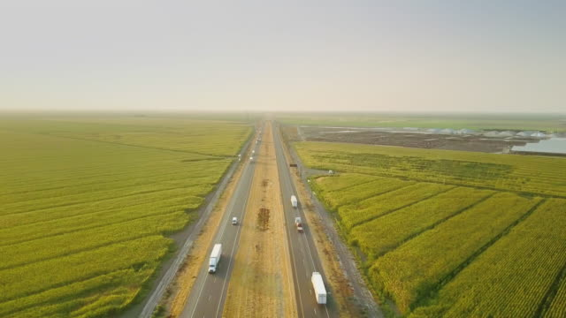 Interstate Running Between Farms - Aerial Shot
