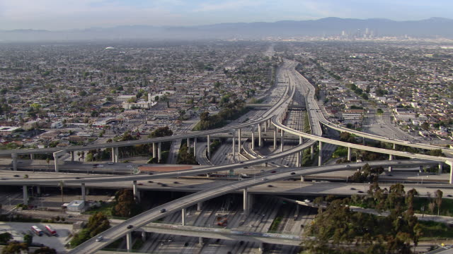 Interstates 105 and 110 intersect in a stack interchange in Los Angeles, California.