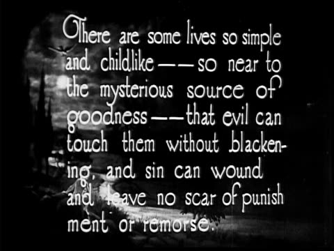 1910 b/w intertitle at beginning of silent film with message concerning good and evil  - 1910 stock-videos und b-roll-filmmaterial