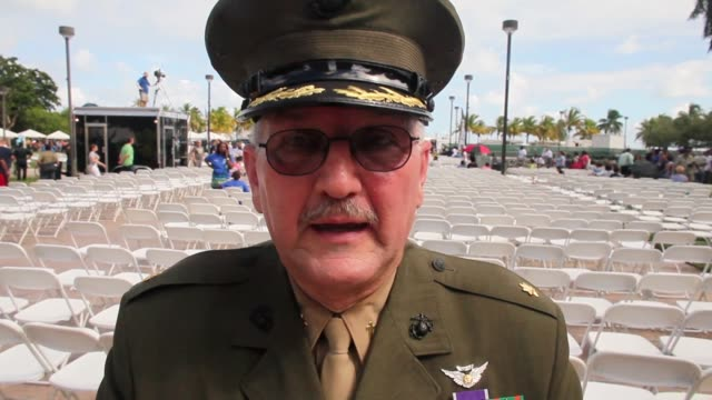 interview a war veteran expresses his appreciation to the people of miami for holding the parade to honor veterans of the vietnam war the bay of pigs... - miami dade county stock videos and b-roll footage
