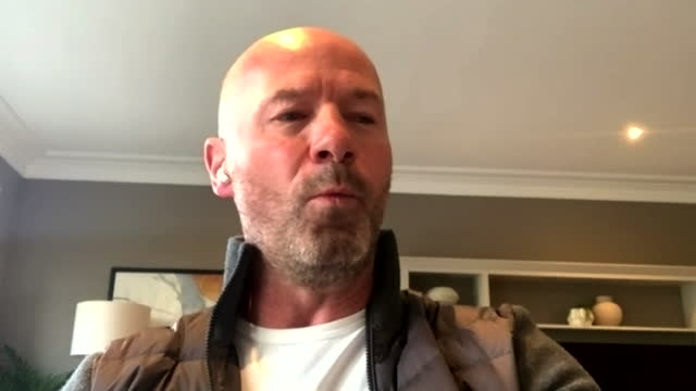 """interview alan shearer, former football player, about the six premier league football teams joining the european super league """"ban then, ban them... - connection stock videos & royalty-free footage"""