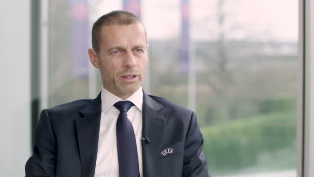 """interview aleksander ceferin uefa president about needing more diversity at uefa to tackle racism in football we have to have people that felt that... - """"bbc news"""" stock-videos und b-roll-filmmaterial"""