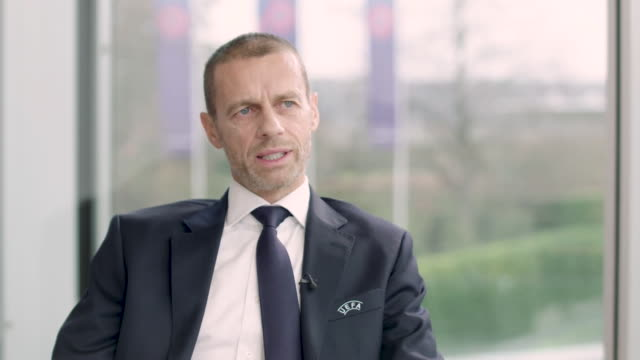 """interview aleksander ceferin uefa president about racism in football we have to try to do more and we will the situation is getting worse - """"bbc news"""" stock-videos und b-roll-filmmaterial"""
