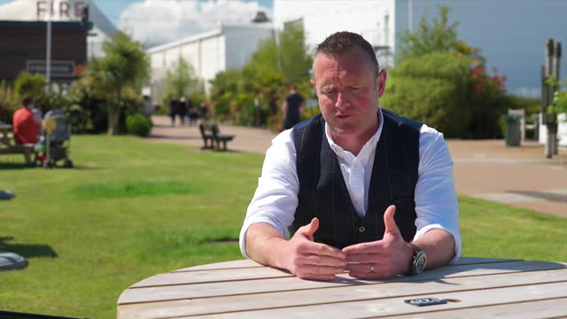 interview alex saul, resort director at butlins skegness, about the uncertainty coronavirus lockdown casued for businesses - tourist resort stock videos & royalty-free footage