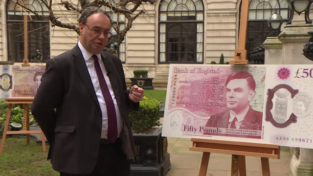 interview andrew bailey, governor bank of england, on day fifty pound note featuring alan turing is released, about wanting to see someone from an... - banknote stock videos & royalty-free footage