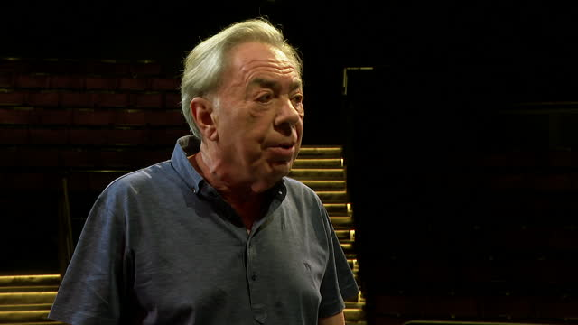 """interview andrew lloyd webber, angry about government's self isolation rules after his production of cinderella had to be cancelled on its opening... - """"bbc news"""" stock videos & royalty-free footage"""