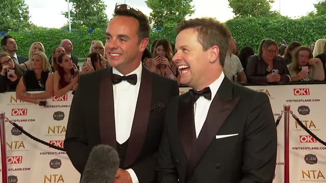"""interview ant mcpartlin and declan donnelly, on red carpet at nta awards 2021, about what programmes they enjoyed watching during coronavirus lockdown - """"bbc news"""" stock videos & royalty-free footage"""