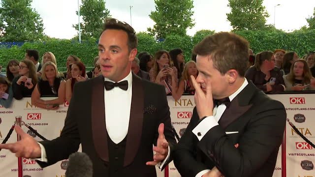 """interview ant mcpartlin and declan donnelly, on red carpet at nta awards 2021, about realising how lucky they were to work in tv during coronavirus... - """"bbc news"""" stock videos & royalty-free footage"""