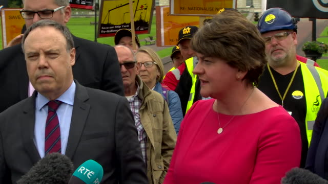 interview arlene foster dup leader speaking to the media outside stormont during boris johnson pm first visit to northern ireland what we want to see... - ストーモント点の映像素材/bロール