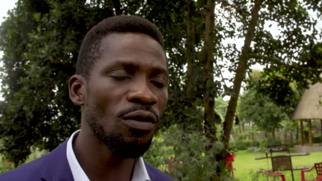 "interview bobi wine, presidential candidate, says the votes counted so far in the election are ""fake and fraudulent"" - ""bbc news"" stock videos & royalty-free footage"