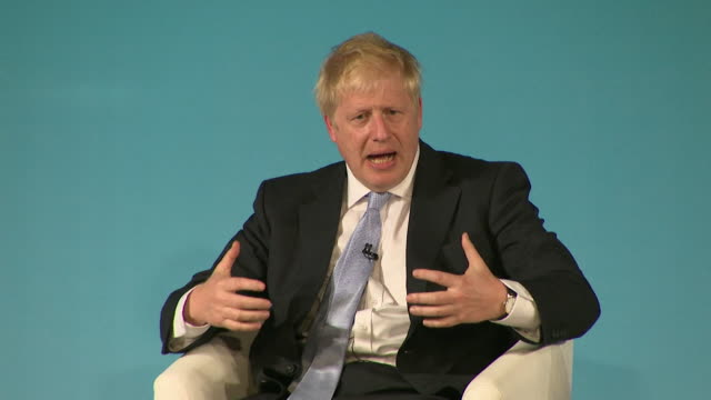 interview boris johnson, conservative leadership contender, at bournemouth husting, about achieving brexit - bournemouth england stock videos & royalty-free footage