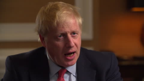 stockvideo's en b-roll-footage met interview boris johnson, conservative leadership cooperation, about consequences of a no deal brexit and how eu cooperation would be needed - boris johnson