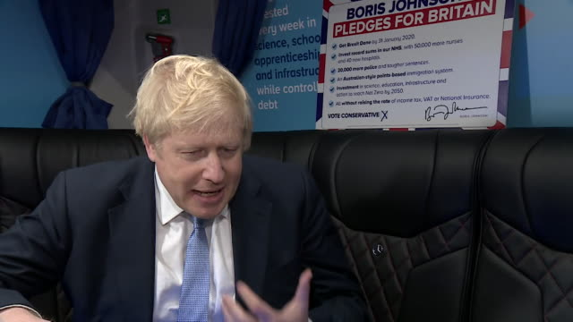 interview boris johnson on battle bus on last campaigning day before general election about nhs anybody who experiences bad times in the nhs has my... - last day stock videos & royalty-free footage