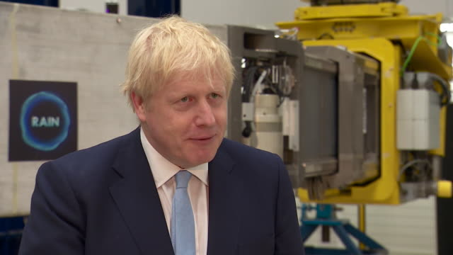 interview boris johnson pm about possibility of a no deal brexit obviously we don't want a no deal brexit we're working towards a deal there is every... - oxfordshire stock videos and b-roll footage