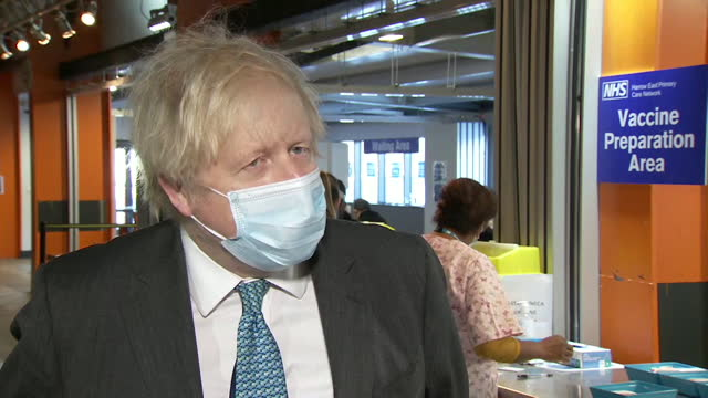 """interview boris johnson pm, about when coronavirus lockdown restrictions will be relaxed after the most vulnerable have been vaccinated """"we will look... - fragility stock videos & royalty-free footage"""