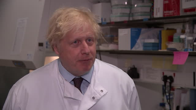 """interview boris johnson pm, at mhra labs in potters bar, about freedom day """"i think it's looking good for july 19th being terminus point"""" - freedom stock videos & royalty-free footage"""