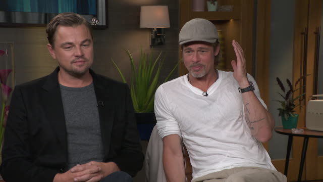 "interview brad pitt and leonard dicaprio talk about their love for hollywood ""a complete love for the industry, town and city, this film reflects... - brad pitt actor stock videos & royalty-free footage"