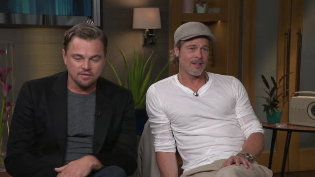 "interview brad pitt and leonardo dicaprio talk about being fotunate in their careers, dicaprio says ""i'm under no illusion i've been incredibly... - brad pitt actor stock videos & royalty-free footage"