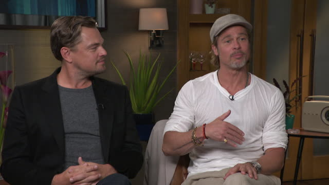 interview brad pitt and leonardo dicaprio, talk about brad pitt being an extra at the start of his career and trying to sneak in lines to get a sag... - brad pitt actor stock videos & royalty-free footage