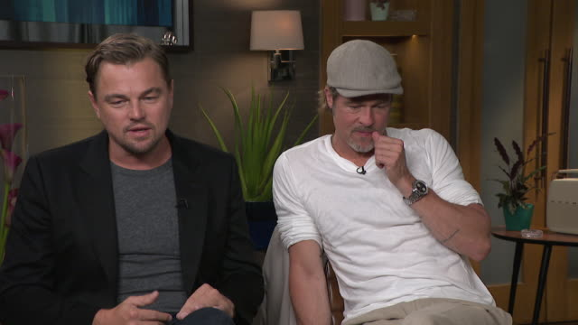 interview brad pitt and leonardo dicaprio talk about the golden era of hollywood in relation to the new quentin tarantino film once upon a time in... - brad pitt actor stock videos & royalty-free footage