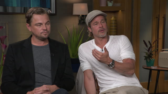 "interview brad pitt and leonardo dicaprio talk about the importance of friendship when you are an actor ""we understand the friends you have as you... - brad pitt actor stock videos & royalty-free footage"