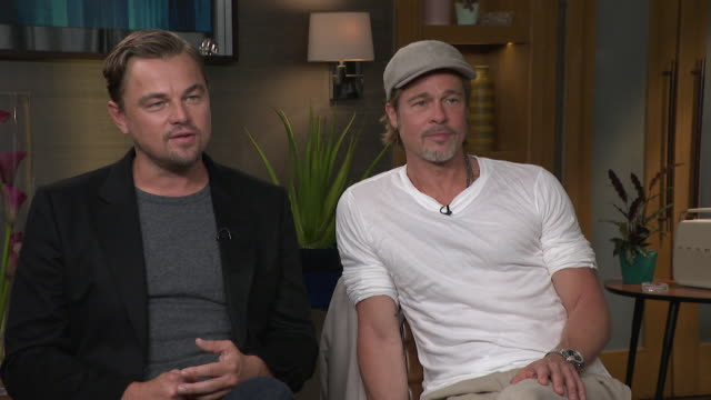 interview brad pitt and leonardo dicaprio talk about their characters in the film once upon a time in hollywood - brad pitt actor stock videos & royalty-free footage