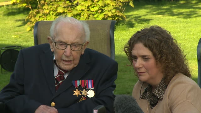 interview captain tom moore 99 years old after walking 100 laps of his garden to raise money for nhs during coronavirus lockdown the sun will shine... - captain tom moore stock videos & royalty-free footage