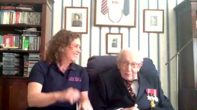 interview captain tom moore, 99 years old, learning he has raised 5 million pounds for the nhs by attempting to walk 100 laps of his bedfordshire... - happiness stock videos & royalty-free footage
