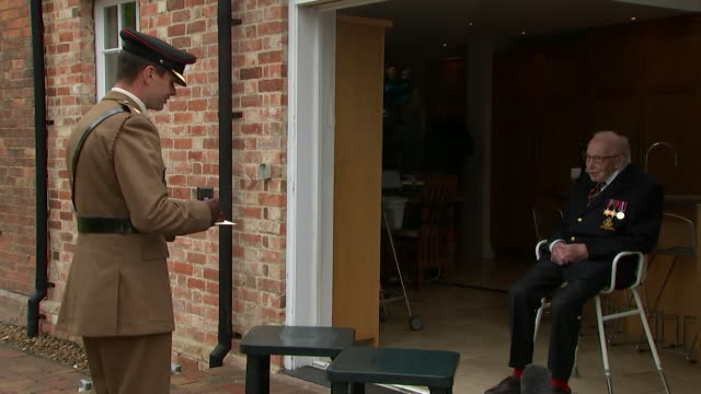 interview captain tom moore being made a colonel on his 100th birthday in recognition of his fundraising efforts during coronavirus crisis this is... - captain tom moore stock videos & royalty-free footage