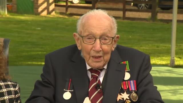 "interview captain tom moore, fundraiser, as he watches raf flypast for his 100th birthday ""i'm absolutely delighted with all the people who have... - british military stock-videos und b-roll-filmmaterial"