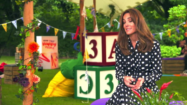 """interview catherine duchess of cambridge about the bbc's """"tiny happy people"""" initiative and how it can help parents during the early years - インタビュー素材点の映像素材/bロール"""