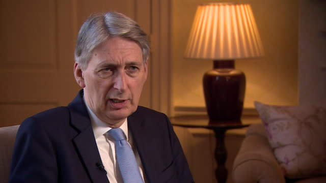 interview chancellor philip hammond about the effect of brexit on uk economy if we get the right deal consumers will feel more confident and then... - フィリップ ハモンド点の映像素材/bロール