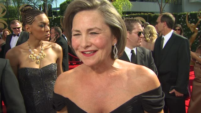 cherry jones on her nomination who she's rooting for her dress at the 61st annual primetime emmy awards arrivals at los angeles ca - annual primetime emmy awards stock-videos und b-roll-filmmaterial