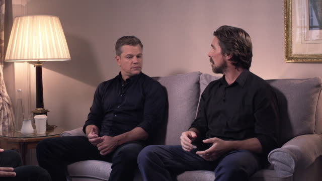 interview christian bale joking with matt damon on how he loses out on acting roles to leonard dicaprio - cheerful stock videos & royalty-free footage