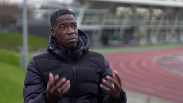 "interview christian malcolm, head coach british athletics, on being the first black coach in the role of head coach ""the time is now to have equal... - equal opportunities stock videos & royalty-free footage"