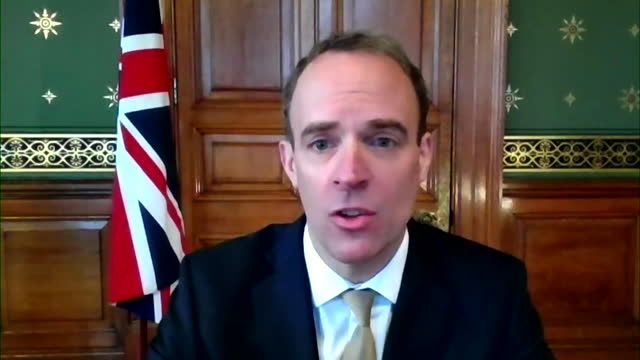 "interview dominic raab, foreign secretary, about covid-19 vaccination rollout ""we think we can get the entire adult population given the first jab by... - ""bbc news"" stock videos & royalty-free footage"