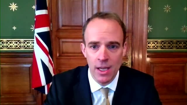 "interview dominic raab, foreign secretary, on andrew marr, about the closure of covid-19 travel corridors in the uk during the pandemic - ""bbc news"" stock videos & royalty-free footage"