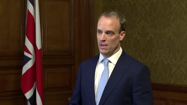 interview dominic raab mp, first secretary of state, about pm boris johnson being admitted into intensive care for coronavirus and how the government... - boris johnson stock videos & royalty-free footage