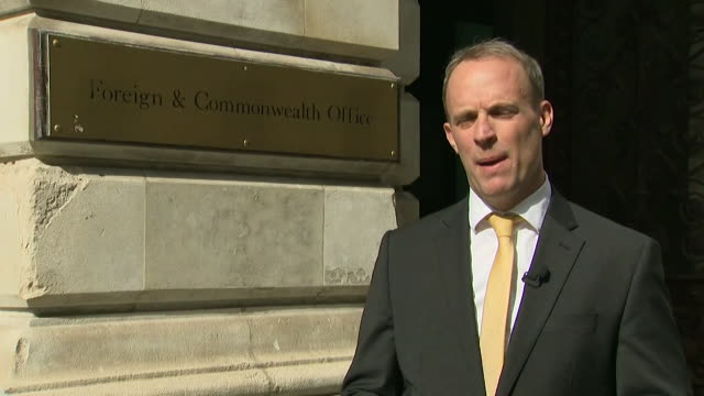 interview dominic raab mp foreign secretary about hackers working for the russian state targeting organisations working on a coronavirus vaccine and... - serious stock videos & royalty-free footage