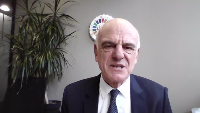 """interview dr david nabarro, special who envoy covid-19, about pfizer biontech coronavirus vaccine effective test results """"any promising news about a... - efficiency stock videos & royalty-free footage"""