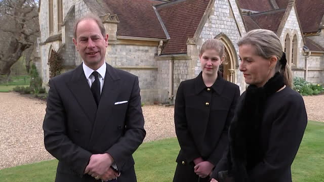 """interview earl and countess of wessex, about how the queen is doing following the death of duke of edinburgh """"thinking of others before herself,... - """"bbc news"""" stock videos & royalty-free footage"""