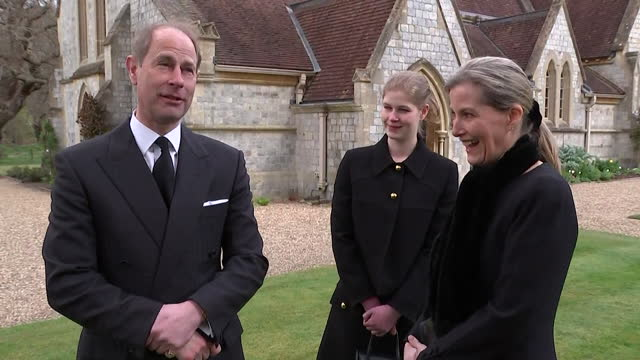 """interview earl and countess of wessex, following death of duke of edinburgh, about his carriage driving and getting pulled out of ditches - """"bbc news"""" stock videos & royalty-free footage"""
